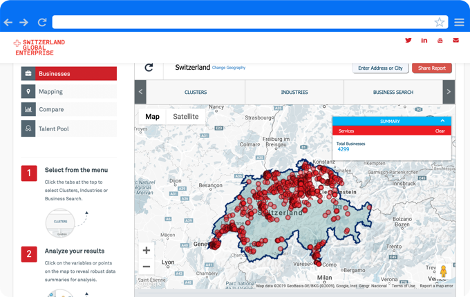 GIS Planning's mapping interface invites users to visualize complex data around businesses and commercial properties